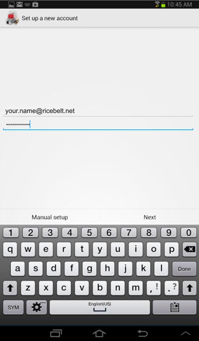 Set Up a New Account window