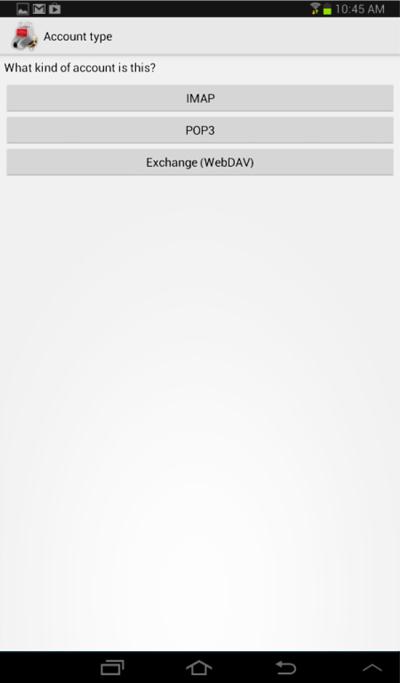 Account Type window