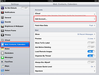 Settings to Mail, Contacts, Calendars window