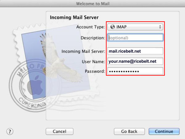 Incoming Mail window showing Account Type set to IMAP, Description as optional and Incoming mail server to mail.ricebelt.net