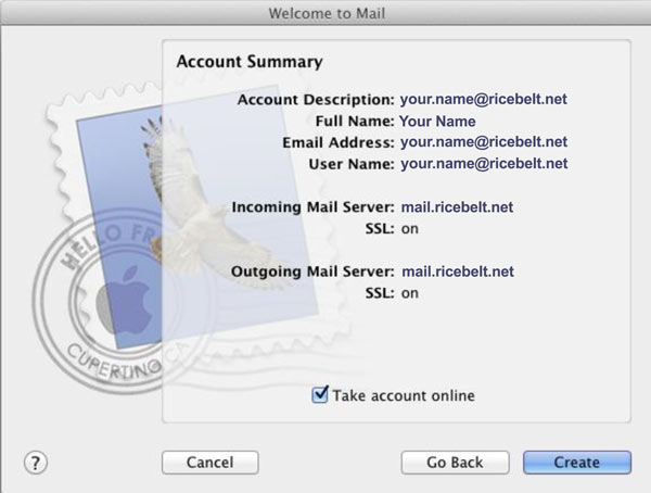 Account Summary window with Take account online checked