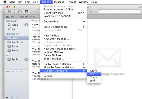 mail window showing top toolbar with Mailbox selected and the sub-item Use This Mailbox For highlighted and its sub menu item Sent selected