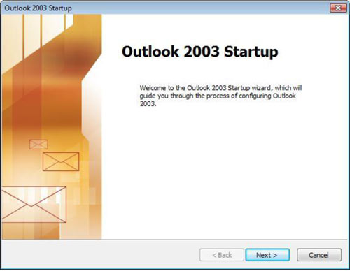 Outlook 2003 Startup window