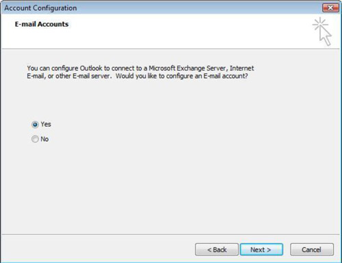Account Configuration window with Yes selected