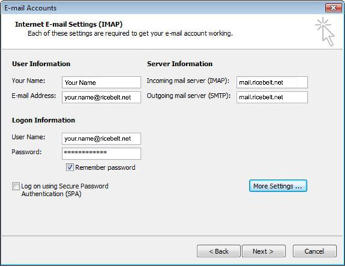 Internet Email Settings window with name, email address as your.name@ricebelt.net, incoming and outgoing server fields are mail.ricebelt.net, username is your Ricebelt email address