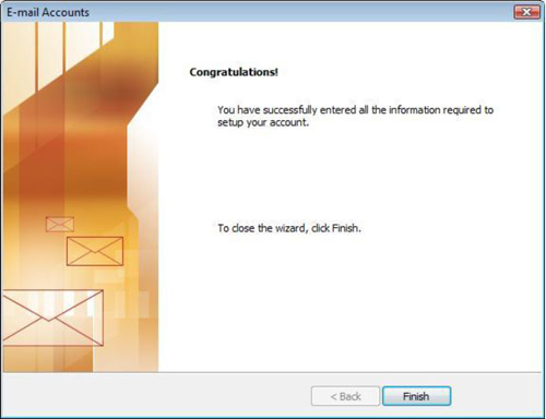 Email Accounts Congratulations window