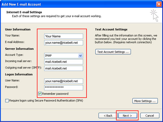 Internet Email Settings with your name, email address, IMAP selected, incoming and outgoing mail servers as mail.ricebelt.net