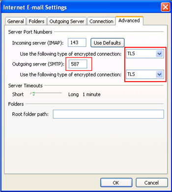 Internet Email Settings window with Advanced tab selected