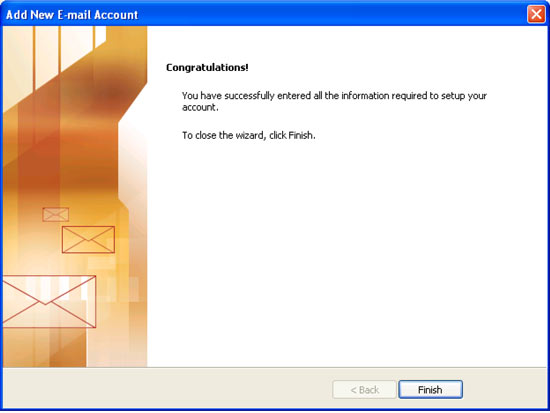Add New Email Account window Congratulations screen
