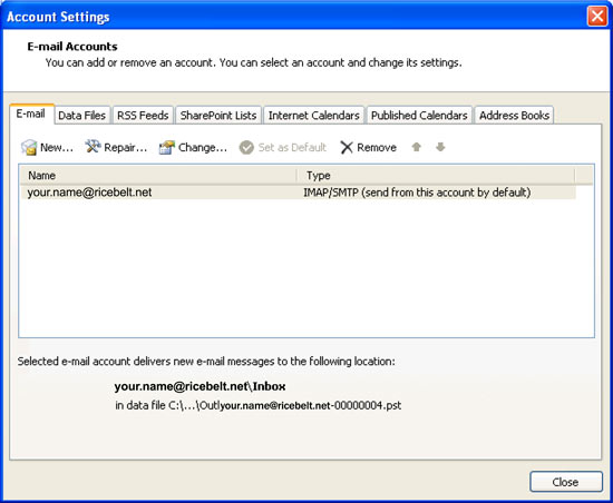 Account Settings window with E-Mail tab selected