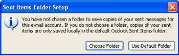 Sent Items Folder Setup warning alert