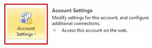 Account Settings button - Modify settings for this account, and configure additional connections