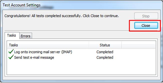 Outlook Test Account Settings window - Congratulations screen