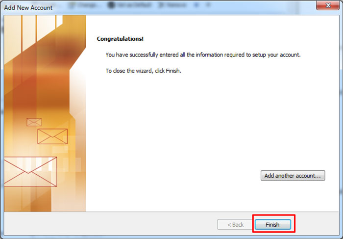 Outlook Add New Account - Congratulations!