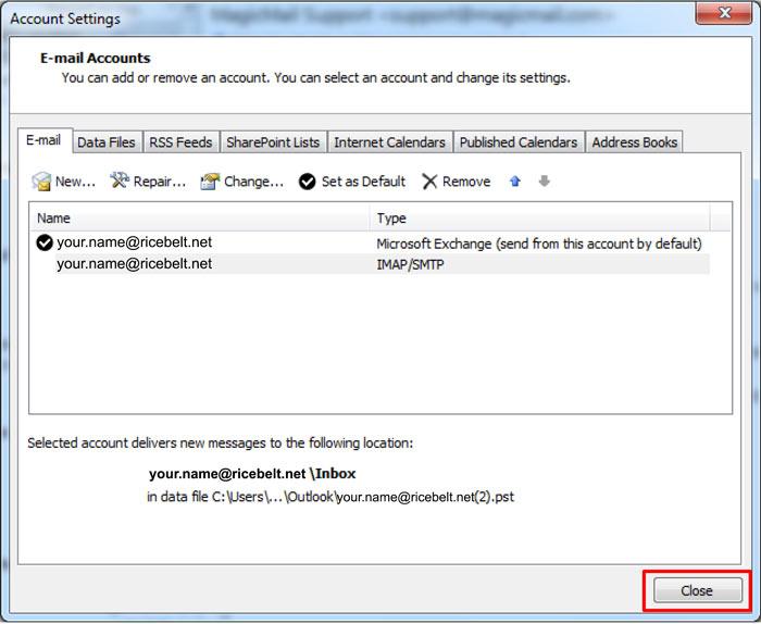 Outlook Account Settings - E-mail Accounts window