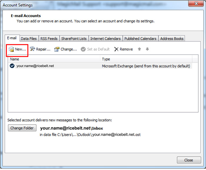 Outlook Account Settings - E-mail Accounts with E-mail tab selected