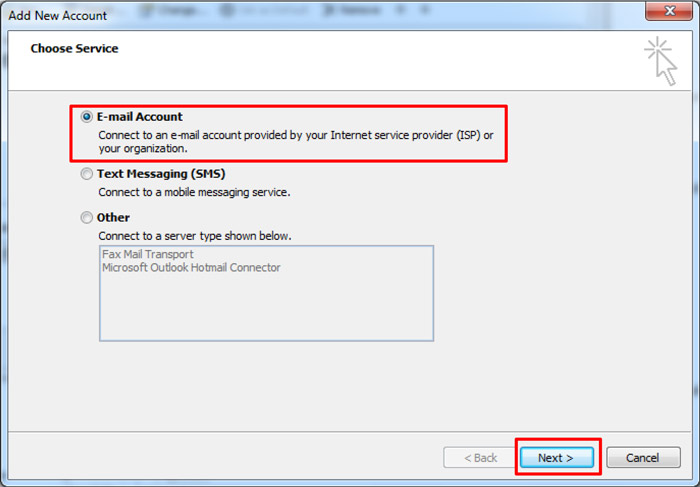 Outlook Add New Account window - Choose Service