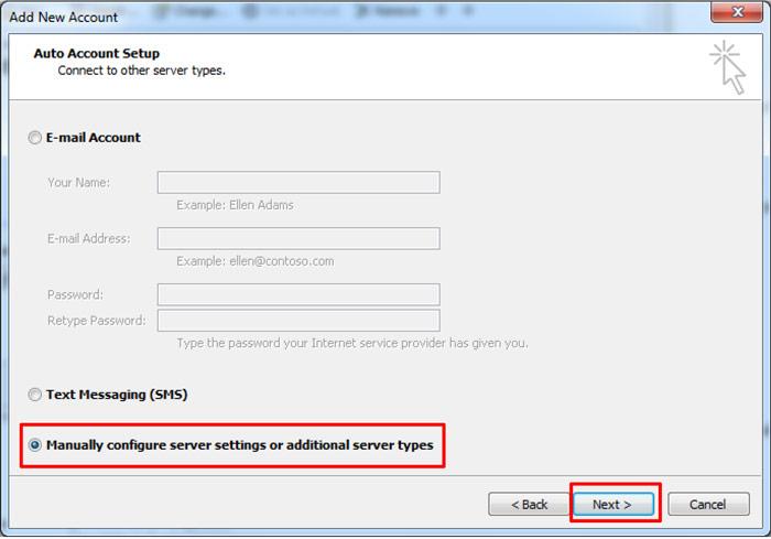 Outlook Add New Account window - Auto Account Setup window