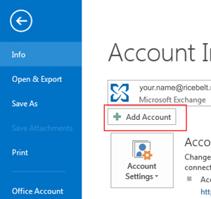 Outlook Account window with Add Account button