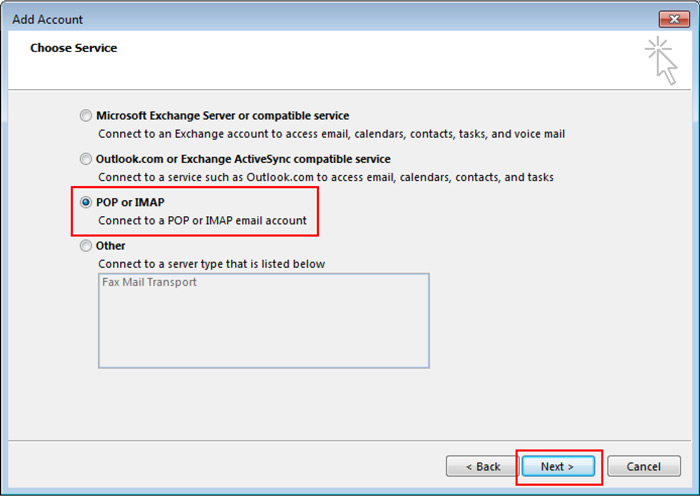 Outlook Add Account window - Choose Service