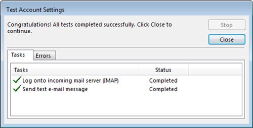 Outlook Test Account Settings window Congratulations screen