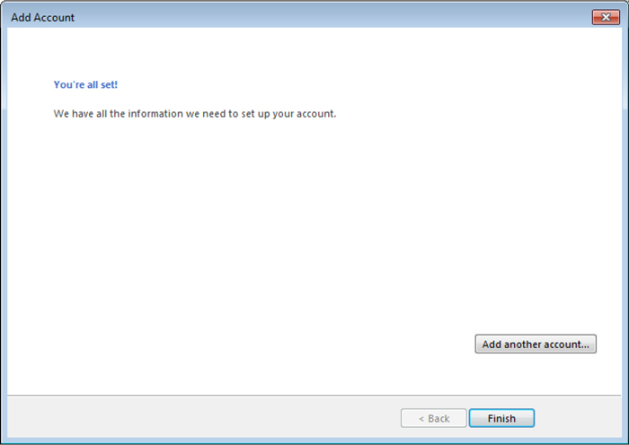 Outlook Add Account - You're all set! window