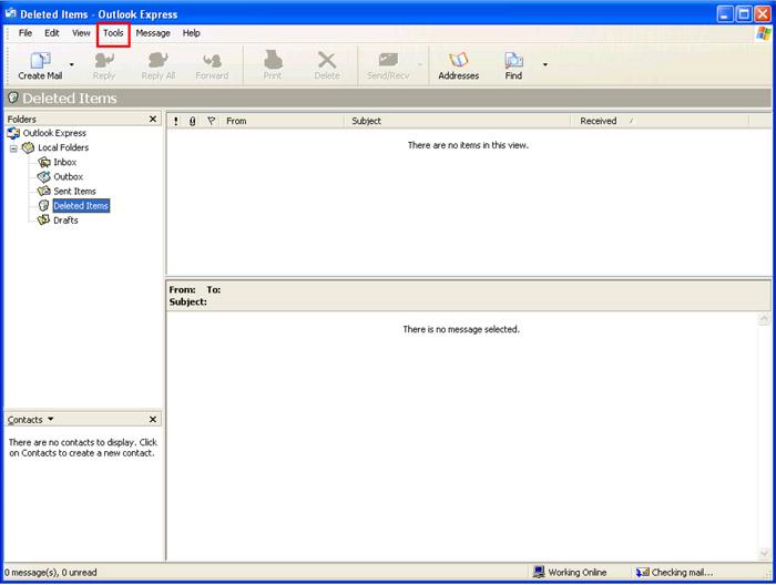 Outlook Express window