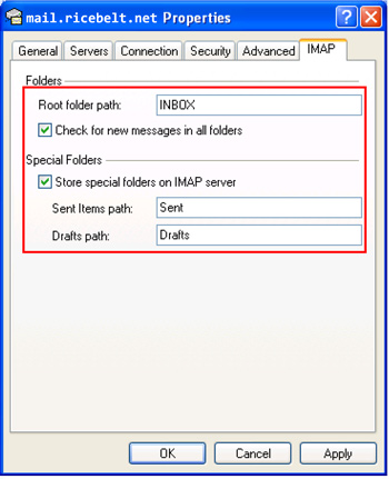 Properties window with IMAP tab selected