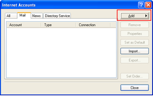 Internet Accounts window with Mail tab selected