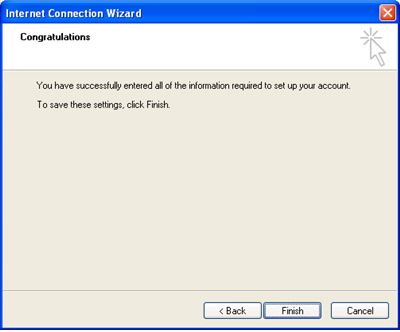 Internet Connection Wizard Congratulations window