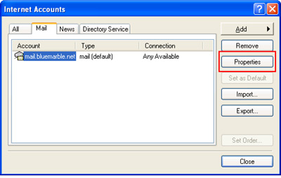 Internet Accounts with Mail tab selected