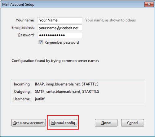 Thunderbird Mail Account Setup window