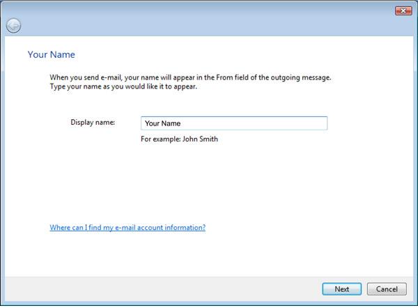 Vista Mail Setup window