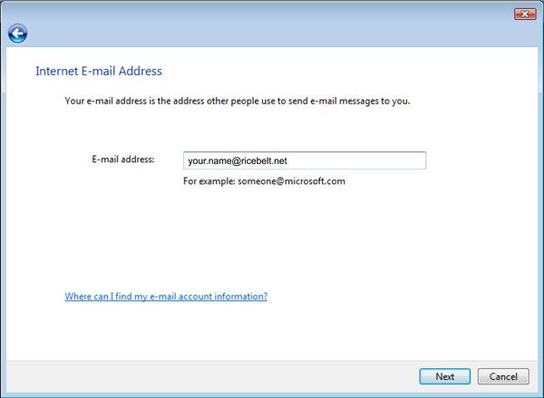 Vista Mail Setup Internet Email Address window