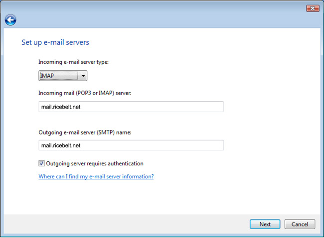 Vista Mail Set up e-mail servers window with IMAP selected for Incoming type, Incoming and Outgoing mail servers set to mail.ricebelt.net, and Outgoing server requires authentication is checked