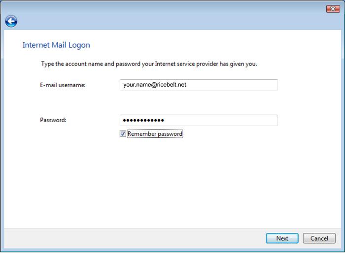 Vista Mail Setup Internet Mail logon window
