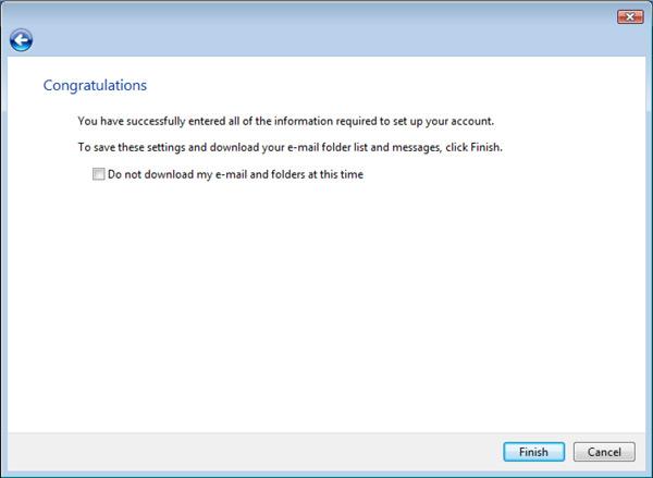 Vista Mail Setup Congratulations window