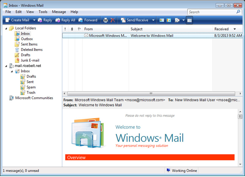 Vista Mail Inbox window
