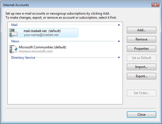 Vista Mail Internet Account window