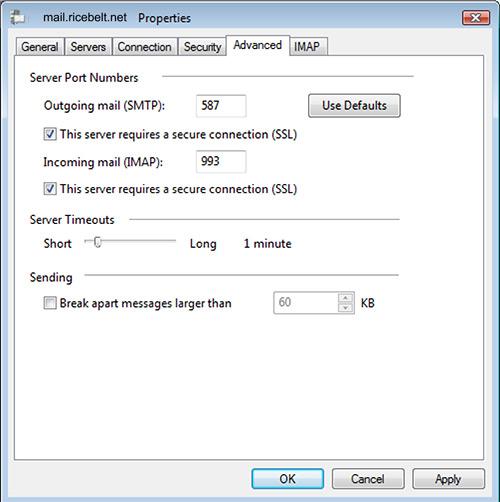Vista Mail Internet Accounts Properties window