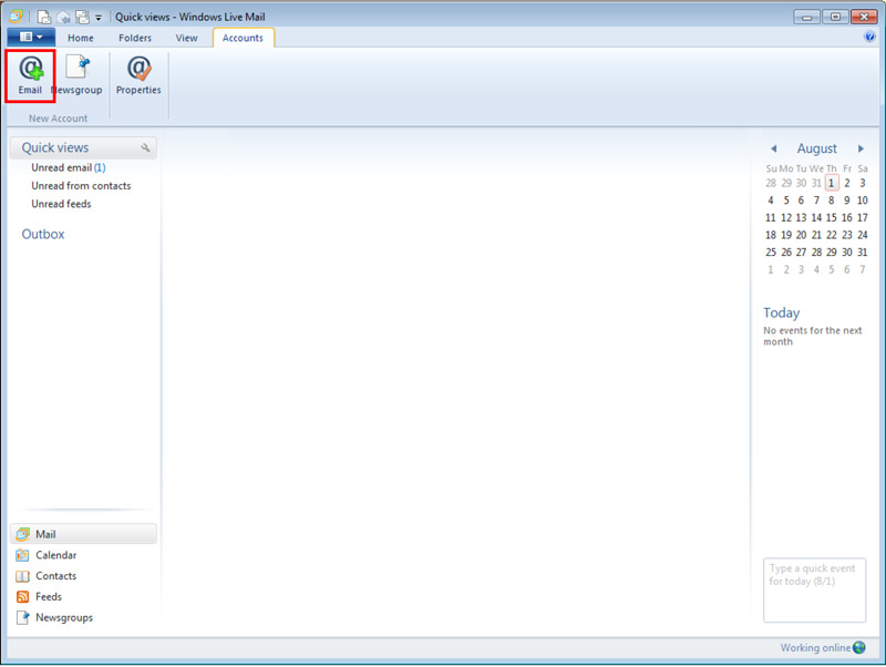 Quick Views Windows Live window with Accounts tab selected