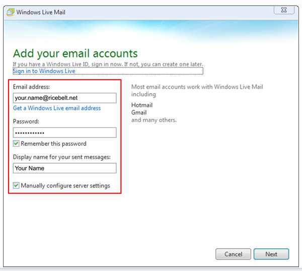 Windows Live Mail Add Your Email Accounts window