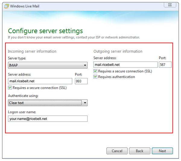 Windows Live Mail Configure Server Settings window